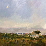 "Gerard Blouin, ""Moonrise, Early Evening"", oil on linen, 20 x 20"",  $1700.00"