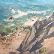 "Gerard Blouin, ""Strong Tide"", oil on linen, 20 x 20"",  $1700.00"