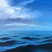 "Whitney Knapp Bowditch, "" Atlantic Horizon"", oil on cradled wood  20 x 20"", $2100.00"