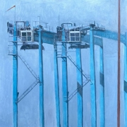 """Cynthia Guild, """"Double Sentinel #2"""", oil on canvas, 20 x 24"""", $1750.00"""