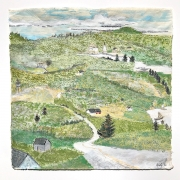 """Stephan Haley, """"Road to Town"""", monoprint drawing, pencil, and woodblock ink, 20 x 20"""", $1375.00"""