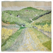 """Stephan Haley, """"Up The Road Towards Blue Hill"""", monoprint drawing, pencil and woodblock, 20 x 20"""", $1375.00"""