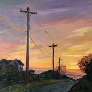 "Kate Knapp, ""Dories Cove Road Sunset"", oil on canvas,  20 x 20"", $1100.00"