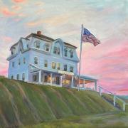 "Kate Knapp, ""Narragansett Inn Afterglow"" oil on canvas,  20 x 20"", $1100.00"