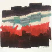 "Jan Wampler, ""Composition Land/Sky"", watercolor collage, 20 x 20"",  $400.00"