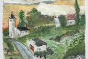 "Stephan Haley, ""Church at Kingdom Road"", monoprint drawing, 7 x 7"", $600.00"
