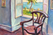"Kate Knapp, ""Chair at St Croix Museum"", oil on canvas,  30 x 30"", $1950.00"