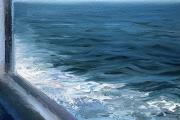 "Whitney Knapp Bowditch, Block Island Blues, oil on paper,  10 x 8.25"", $775.00"