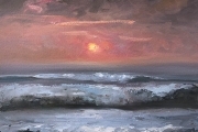 """Whitney Knapp Bowditch, Sunset Over The Sound,  oil on paper,  8.25 x 11.25"""", $800.00"""