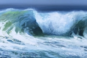 "Whitney Knapp Bowditch, Crescent Beach Breaker,  oil on panel,  12 x 24"", $1500.00"