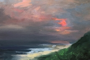 "Whitney Knapp Bowditch, Block Island Evening, oil on cradled  wood panel, 5 x 7"", $295.00"