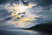 "Whitney Knapp Bowditch, Dusk Westside, oil on cradled  wood panel, 5 x 7"", $295.00"
