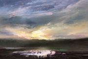 "Whitney Knapp Bowditch, Lakeside Sunset, oil on cradled  wood panel, 5 x 7"", $295.00"