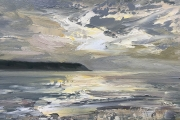 """Whitney Knapp Bowditch, Morning Crescent Beach, oil on cradled  wood panel, 5 x 7"""", $295.00"""