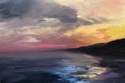 "Whitney Knapp Bowditch, Nightfall, oil on cradled  wood panel, 5 x 7"", $295.00"