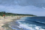 """Whitney Knapp Bowditch, Mansion Beach, oil on paper, 7x 11.5"""", $725.00"""