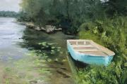 "Whitney Knapp Bowditch, Fresh Pond Dinghy, oil on paper, 8.25 x 11.25"", $800.00"
