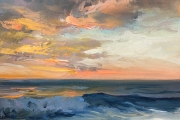 """Whitney Knapp Bowditch, Sunset Cooneymus,  oil on cradled wood, 5 x 7"""",  $295.00"""