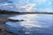 "Whitney Knapp Bowditch, ""Dusk, Great Salt Pond"",  oil on cradled wood panel, 5 x 7"", $295.00"