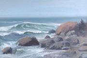 "Whitney Knapp Bowditch, "" Foggy Shoreline"",  oil on paper,  7.5.x 10.5"",  $750.00"