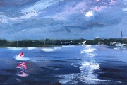 "Whitney Knapp Bowditch, ""Great Salt Pond Nocturne"",  oil on paper, 5.75 x 8.25"", $550.00"