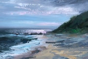 "Whitney Knapp Bowditch, ""Last Light"", oil on paper, 8.5"" x 11.25"", $825.00"