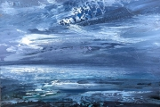 """Whitney Knapp Bowditch, """"Lune sur l'eau"""", oil on cradled wood panel, 5"""" x 7"""", $295.00"""