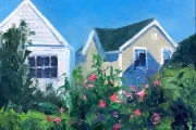 "Whitney Knapp Bowditch, ""Old Harbor Garden"", oil on paper, 8.25"" x 11.25"", $800.00"