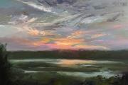 "Whitney Knapp Bowditch, ""Seneca Sunset"", oil on cradled wood panel, 11"" x 14"", $975.00"