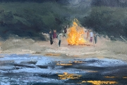 "Whitney Knapp Bowditch, ""Beach Bonfire"", oil on paper, 8.5 x 10.5"", $750.00"