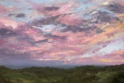 "Whitney Knapp Bowditch, ""Sunset over Rodman's Hollow"", oil on paper, 8.25 x 11.25"", $825.00"