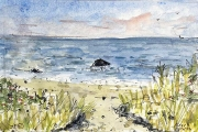 """Jessie Edwards, """"Beach Path"""", pen and ink with watercolor,  framed, $225.00"""