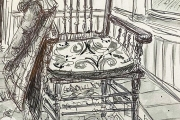 """Jessie Edwards, """"Press Backed Chair"""", pen and ink, framed, $225.00"""