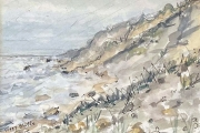 """Jessie Edwards, Foggy Bluffs"""", pen and ink with watercolor, framed, $225.00"""