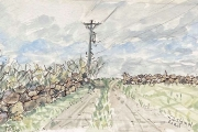 """Jessie Edwards, """"Island Road II"""", pen and ink with watercolor, matted, $150.00"""