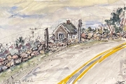 """Jessie Edwards, """"Island Road I"""", pen and ink with watercolor, matted, $150.00"""