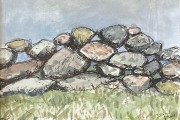 """Jessie Edwards, """"Island Wall"""", pen and ink with watercolor, framed, $225.00"""
