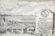 "Jessie Edwards, ""Island"", pen and ink, framed, $200.00"