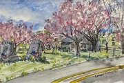 """Jessie Edwards, """"Legion Park in Spring"""", pen and ink with watercolor, framed, $225.00"""