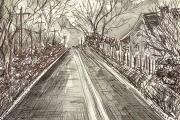 "Jessie Edwards, ""Nocturnal Road (Bush Lot Hill)"", pen and ink, framed, $225.00"