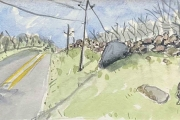 """Jessie Edwards, """"Road (Towards Pilot Hill)"""", pen and ink with watercolor, framed, $225.00"""