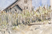 """Jessie Edwards, """"Scotch Beach Home"""", pen and ink with watercolor, matted, $150.00"""