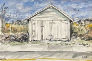 """Jessie Edwards, """"Shed"""", pen and ink with watercolor,  framed, $225.00"""