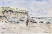 """Jessie Edwards, """"Surfer"""", pen and ink with watercolor, matted, $150.00"""