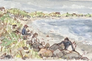 """Jessie Edwards, """"Surfers"""", pen and ink with watercolor, matted, $150.00"""