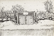 """Jessie Edwards, """"Winter Out Building"""", pen and ink, framed, $200.00"""