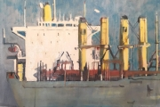"Cynthia Guild, ""Happy Ship""  oil on canvas, 16"" x 20"", $1,450.00"