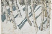 """Stephan Haley, """"Before The Thaw"""", 15 x 15,  monoprint drawing,  $600.00"""