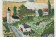 "Stephan Haley, ""Church at Kingdom Road"", 15 x 15"", monoprint drawing,  $600.00"