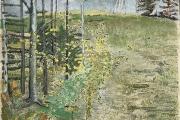 "Stephan Haley, ""Goldfinch Reunion"", 24 x 24"", monoprint drawing, $1375.00"